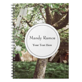 Spring Orchard With Ladder Against Tree Spiral Notebook