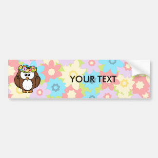 Spring Owl With Flowers Bumper Sticker