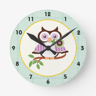 Spring owl with mint green plaid border wall clock