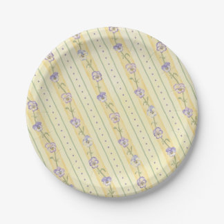 Spring Pansies Yellow Stripe Paper Plate