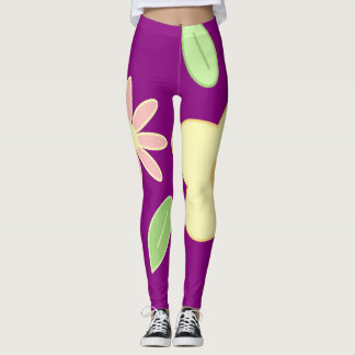 Spring pastel big flowers purple leggings