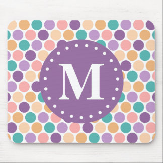 Spring Pastel Polka Dots Pattern with Monogram Mouse Pad