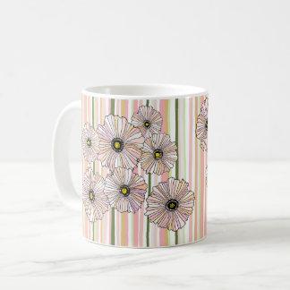Spring pastel poppies mug, blush and sage coffee mug
