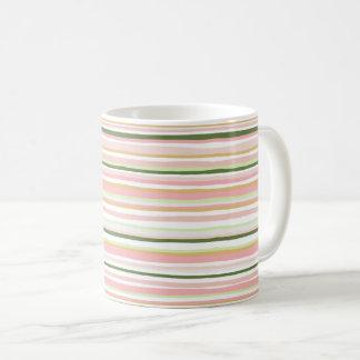 Spring pastel stripe mug, blush and sage coffee mug