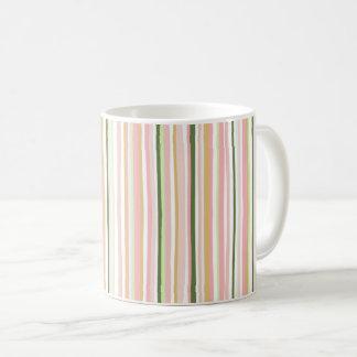 Spring pastel stripe mug, blush and sage vertical coffee mug