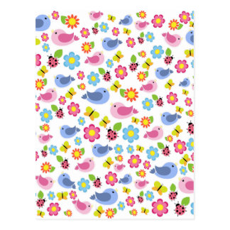 Spring pattern postcard