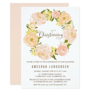 Spring Peonies Wreath Christening Invitation