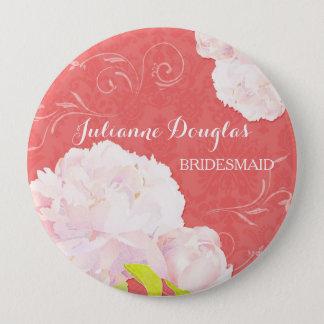 Spring Peony Wedding Bouquet Bridesmaids Buttons