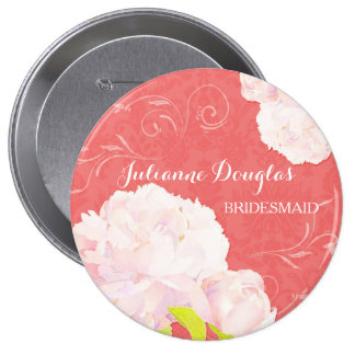 Spring Peony Wedding Bouquet Bridesmaids Buttons