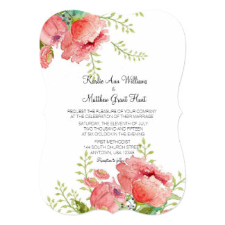 Spring Peony Wedding Invitation
