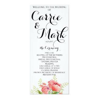 Spring Peony Wedding Program