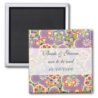 Spring Petals Save the Date Square Magnet