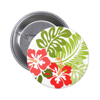 Spring Pink and Red Hibiscus Flowers Hawaii 6 Cm Round Badge