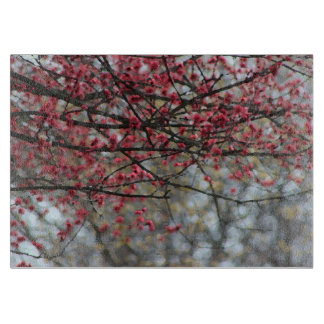 Spring Pink Cherry Blossoms Watercolor Cutting Board