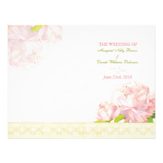 Spring Pink Peony Bi Fold Wedding Program Flyer