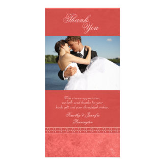 Spring pink vintage elegant wedding thank you photo cards