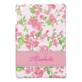 Spring pink watercolor Blossom Branches name Case For The iPad Mini