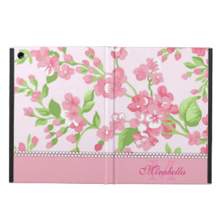 Spring pink watercolor Blossom Branches name Cover For iPad Air