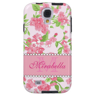 Spring pink watercolor Blossom Branches name Galaxy S4 Case