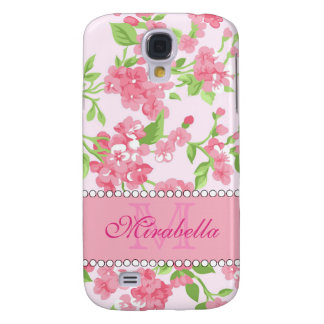 Spring pink watercolor Blossom Branches name Galaxy S4 Covers