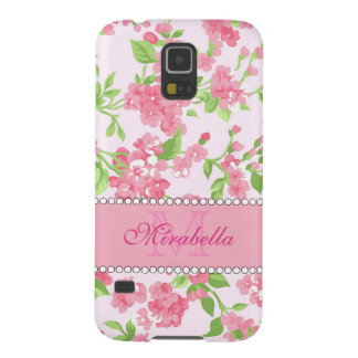 Spring pink watercolor Blossom Branches name Galaxy S5 Cover
