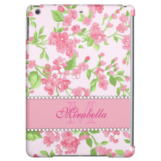 Spring pink watercolor Blossom Branches name iPad Air Cover