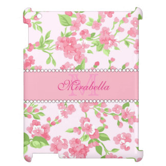 Spring pink watercolor Blossom Branches name iPad Cases