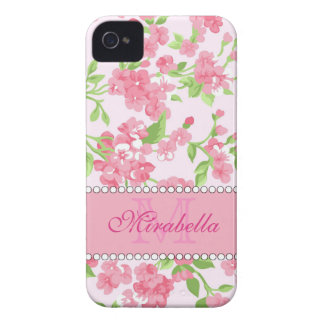 Spring pink watercolor Blossom Branches name iPhone 4 Case