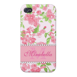 Spring pink watercolor Blossom Branches name iPhone 4 Cover