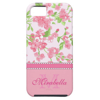 Spring pink watercolor Blossom Branches name iPhone 5 Cases