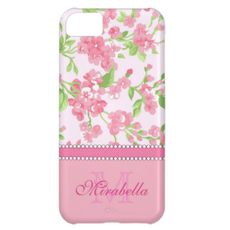 Spring pink watercolor Blossom Branches name iPhone 5C Case