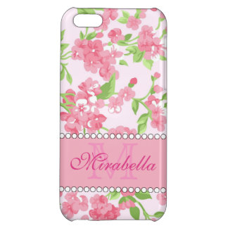 Spring pink watercolor Blossom Branches name iPhone 5C Covers