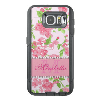 Spring pink watercolor Blossom Branches name OtterBox Samsung Galaxy S6 Case