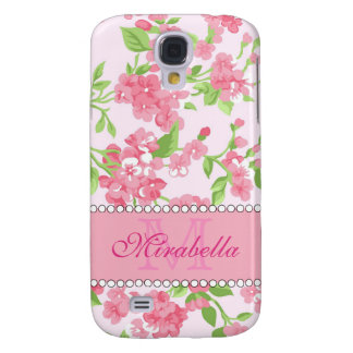 Spring pink watercolor Blossom Branches name Samsung Galaxy S4 Case