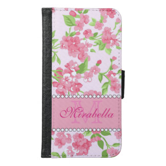 Spring pink watercolor Blossom Branches name Samsung Galaxy S6 Wallet Case