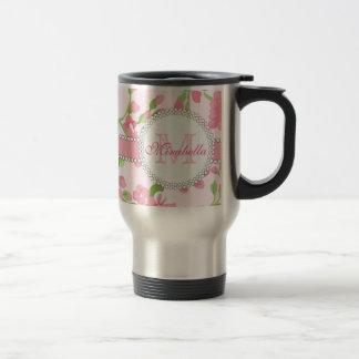 Spring pink watercolor Blossom Branches name Travel Mug