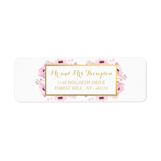 Spring Pinks Watercolor Floral Wedding Collection Return Address Label