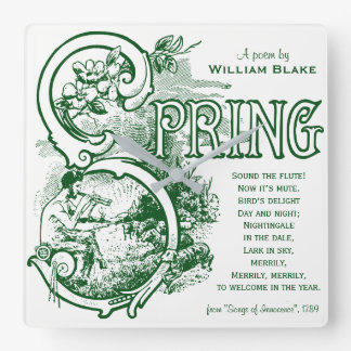 Spring Poem William Blake Victorian Art Satyr Lamb Square Wall Clock