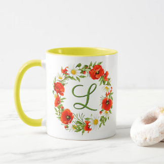 Spring Poppies Daisies Monogram Wreath Mug