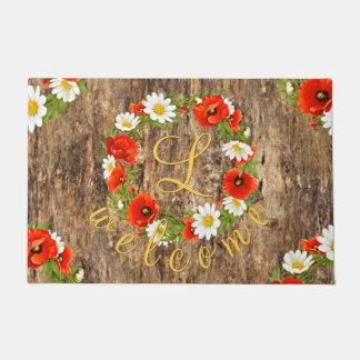 Spring Poppies Daisies Monogram Wreath On Bark Doormat