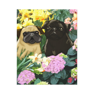 Spring Pugs Canvas Print
