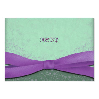 "Spring Purple and Green Wedding Reply Cards 3.5"" X 5"" Invitation Card"