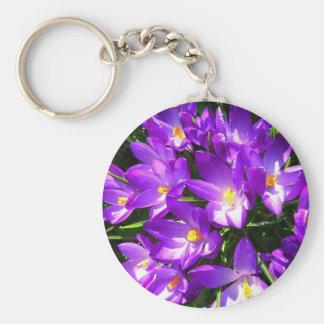 Spring Purple Crocus Flower Key Chains