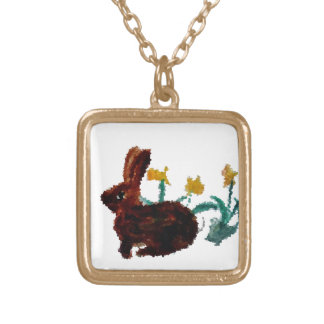 Spring Rabbit Daffodil Art Custom Necklace