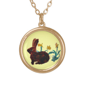 Spring Rabbit Daffodil Art Personalised Necklace