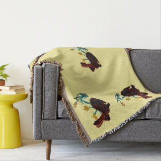 Spring Rabbits Daffodil Art Throw Blanket