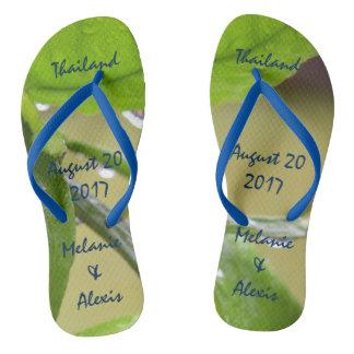 Spring rain green flip flops