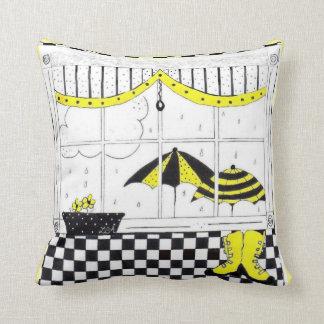 Spring Rain Window Scene Greetings Cushion
