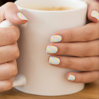 Spring Rainbow Pastel Stripes Minx Nail Art