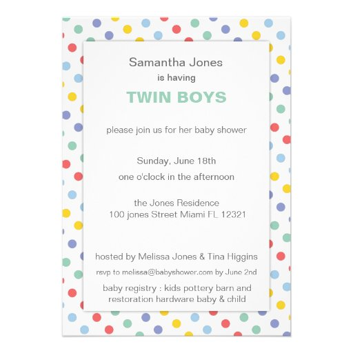 Spring Rainbow Polka Dot Pattern Baby Shower Custom Announcement